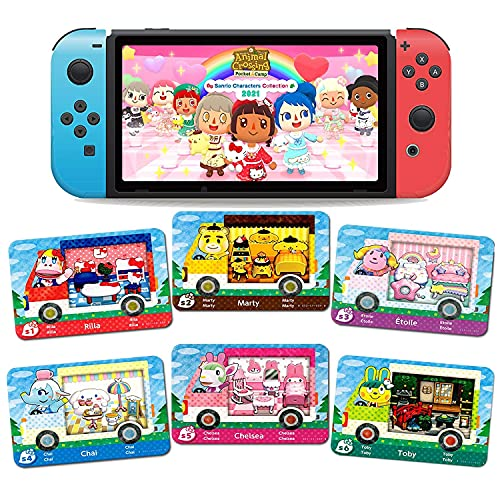 6 Pack Sanrio Animal Crossing Amiibo Cards, New Horizons ACNH Amiibo Sanrio Normal Card, RV Villager Furniture Compatible with Nintendo Switch/Lite/Wii U/New 3DS(Normal Size)