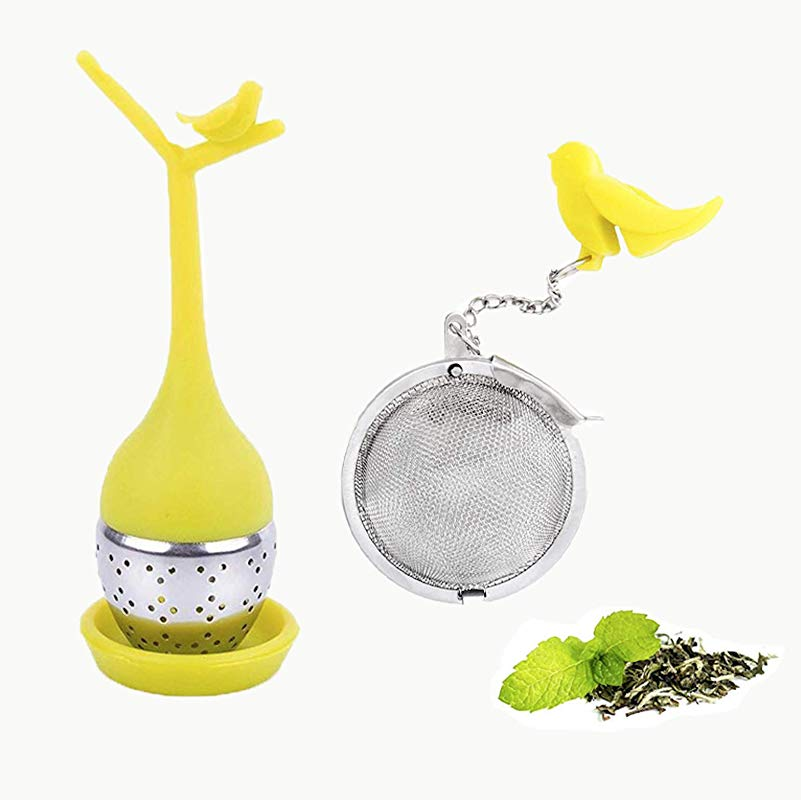 Taygate Tea Infuser Set Of 2 Loose Leaf Silicone Tea Filter With Long Handle Branch Cute Bird Stainless Steel Fine Mesh Tea Strainer Steeper With Gift Box Branch Birdy