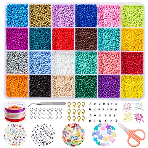 Glass Seed Beads for Jewelry Making and Complete Alphabet Letter Beads for Bracelet Making Kit , Crafts with Elastic String Cords, Pendants and DIY Accessories (2mm)