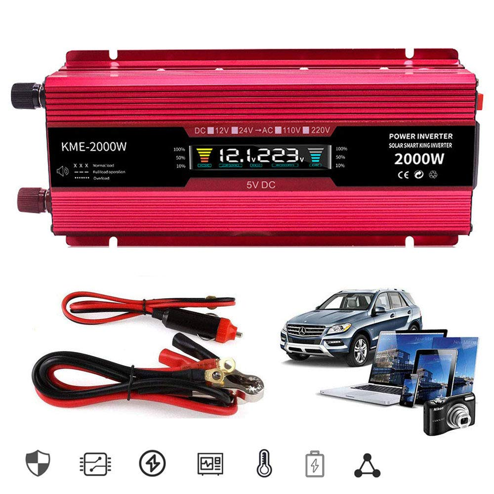 Including Car Battery Clip For Car,2000v-12Vto110V LIMEID Power Inverter 600W 1200W 2000W Power Converter Dc 12//24 V To Ac 110V 220V 230V 240V Car Inverter With Controllable Switch And Usb Port