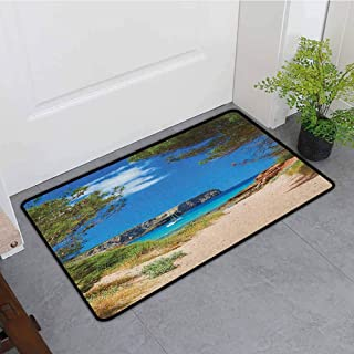 Anhounine Beach Interior Door mat View on Cala Algaiarens from Sand Pathway Cliff in Water Menorca Island Europe Theme Breathability W15 x L23 Multicolor