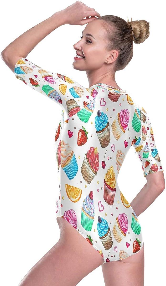 SLHFPX Womens Zip Up Printed Short Sleeve 1 Piece Rash Guard Swimsuit Watercolor Cupcake Strawberry Swimwear