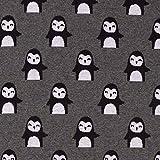 Stoff Baumwolle Jersey Meterware grau Pinguin Jacquard
