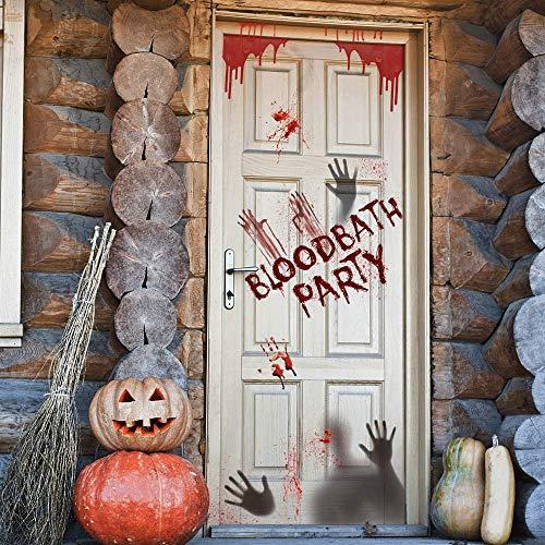 Longzhuo Halloween Muursticker Horror deursticker raamsticker raamfolie decoratie bloed handdruk sticker vloersticker woonkamer pub decoratie verwijderbare muursticker wandafbeelding Blutige Hand