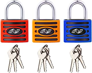 Padlock (Pack of 3) 35 mm - (Heavy Duty Security) Lock, Padlock with 3 Keys for School & Home Exterior Gates, Sheds, Lockers, Tool Box, Warehouse And More!