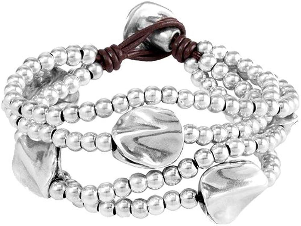 Uno de 50 bracciale da donna classics placcato argento in pelle con perla in argento PUL0854MTLMAR0M