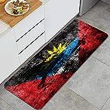 Waschbarer Küchenteppich,Antigua & Barbuda Flagge auf schmutzigem Papier,Rutschfester weicher superabsorbierender Matten-Teppich für Küchentür Badezimmer 47.2