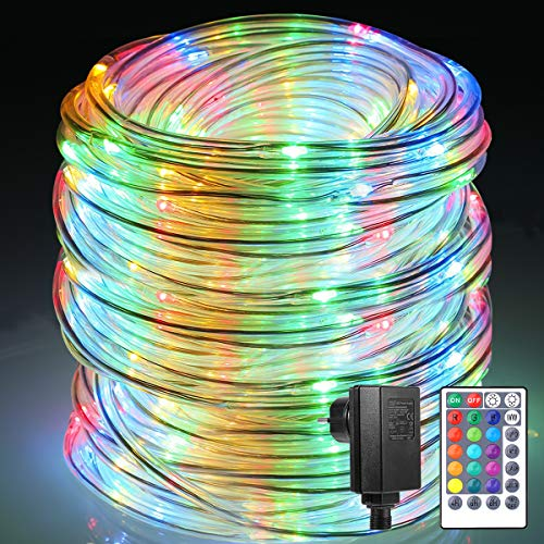 Lichterschlauch außen B-right 150 Led 15M Lichterkette außen RGB,Lichterkette strombetrieben mit Fernbedienung,Lichtschläuche Weihnachtsbeleuchtung für Weihnachten Balkon Hochzeit Weihnachtsbaum