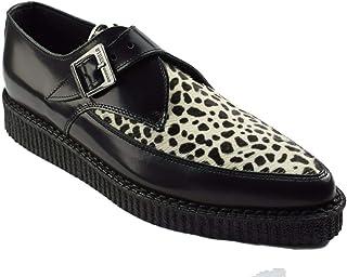 Zapatos de tierra de acero Negro Cuero Blanco Leopardo Creepers Monk Buckle