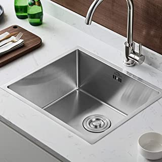 Auralum Küchenspüle 50×43×21 CM Edelstahlspüle Einbauspüle mit Syphon für Küche, Eckige Edelstahl Waschbecken Plattendicke ca. 4mm 1 Becken