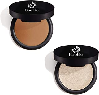 BaeBlu 100% Natural Matte Brozer and Organic Highlighter Makeup Pressed Powder Pack of 2: Luminessence, Endless Summer