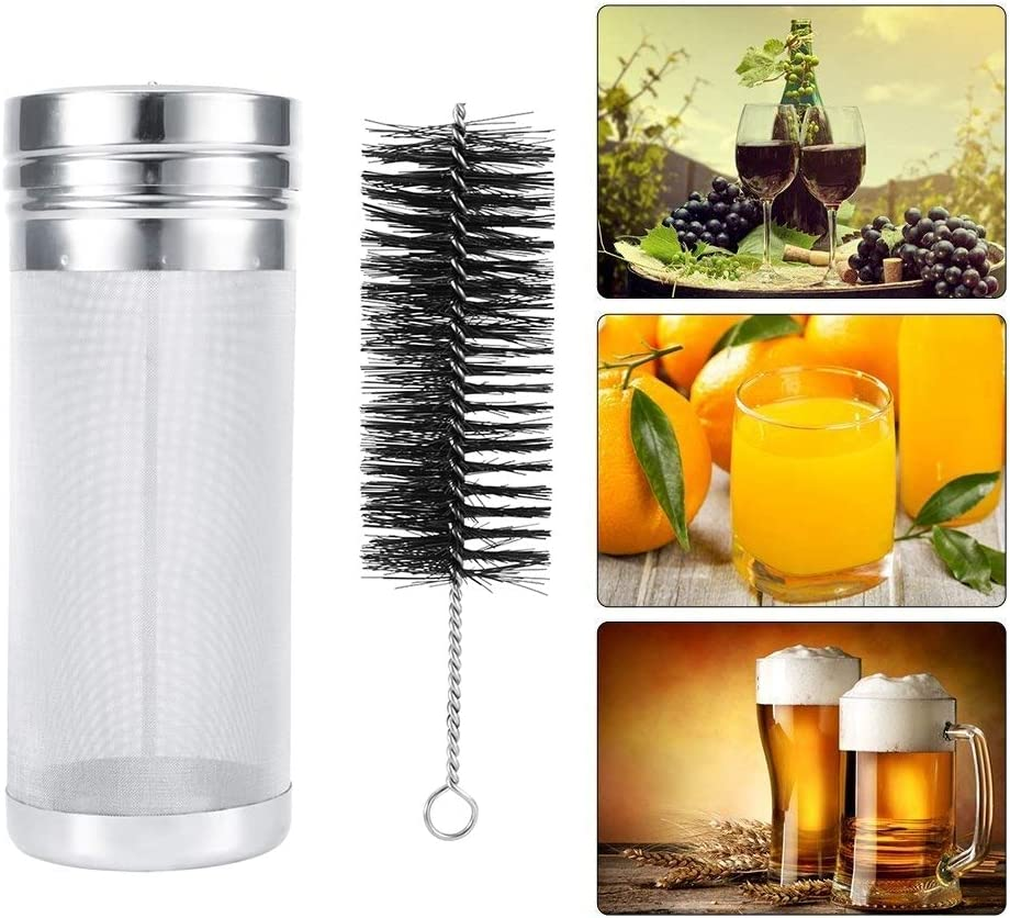 Hop Filter,Stainless Steel Beer Hop Filter with 300 Micrometers Mesh Cleaning Brush Kit for Homebrew Kegs 7 * 18cm