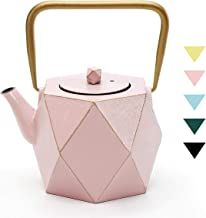 Cast Iron Teapot, TOPTIER Japanese Cast Iron Teapot with Infuser for Loose Leaf and Tea Bags, Stovetop Safe Cast Iron Tea Kettle Coated with Enameled Interior for 30 oz (900 ml), Christmas Pink