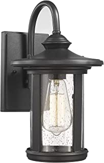 Bestshared Outdoor Wall Lantern, 1-Light Wall Sconce Mounted Light, Exterior Wall Mount Light Fixturewith Seeded Glass Shade