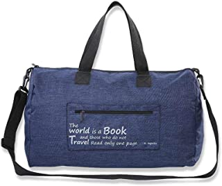 Canvas Duffle Bag Duffel Shoulder Sport Gym School Mens Women Travel Carry on with Pouch 20 x 14 x 8 Inches Blue