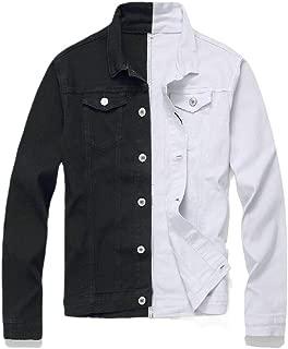 Cromoncent Men Slim Fit Lapel Neck Denim Distressed Embroidery Button Down Shirts