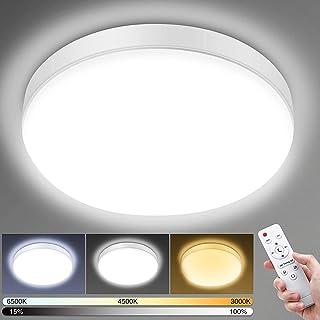 Plafonnier LED Télécommande, Luminaire Plafonnier 3000K-6500K Dimmable 24W 2200LM Lampe Plafond IP54 Plafonnier Salle de B...