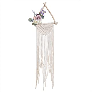 Ling's moment Floral Macrame Wall Hanging Triangle Dream Catcher Wall Decor Boho Wedding Hanger for Girls Nursery Home Bedroom Decoration Wood Dream Catcher