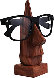 IndiaBigShop Classic Hand Carved Sheesham Wood Nose Shaped Eyeglass Spectacle Holder Stand Decorative Accessories for Home & Office