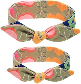 Fdit Printed Elastic Headband Fashionable Stretched Hair Band Bunny Ears Bow Knot Cute Comfortable for Baby Girls Women Ki...