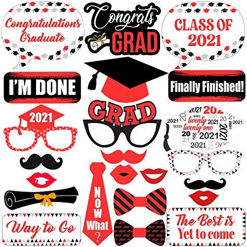 Large Red Graduation Photo Booth Props 2021 - Pack of 23, DIY Required   Graduation Props 2021 for Photoshoot   Graduation Decorations 2021 Red and Black   Graduation Picture Props Class of 2021 Decor