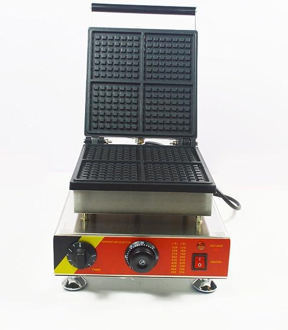 Commercial Nonstick 110v Electric 4pcs Square Waffle Baker Maker Machine