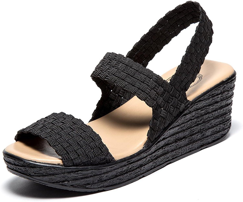 SNT0075heise37 EnllerviiD Women Open Toe Mary Jane Slingback Platform Wedges Sandals shoes Black 6 B(M) US