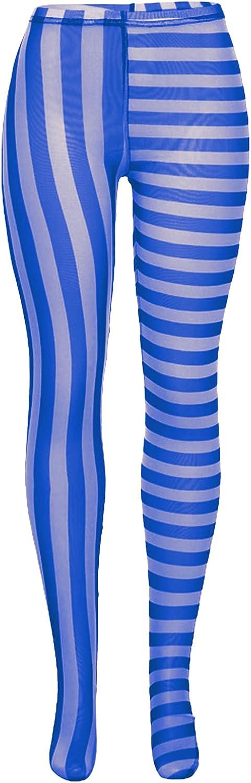 MAINESAKA Women Sexy See Through Pantyhose Vertical and Horizontal Stripe Printed High Waist Tights Pantyhose