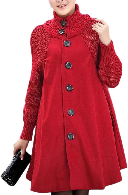 ColourfulWomen Colourful Womens Warm Knitting Woolen Button Down Cloak Duffle Peacoat