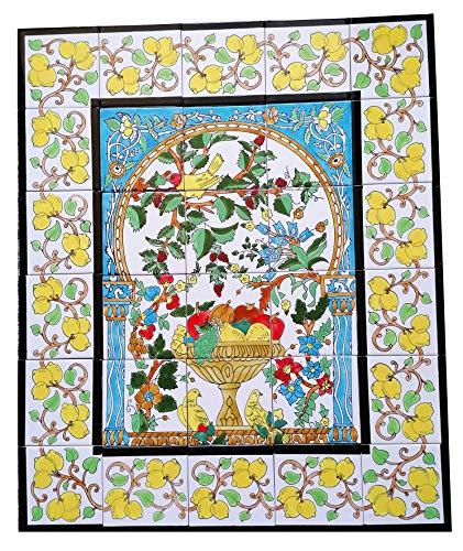 Großes Bild Handbemalte Fliesen Obst Fliesenbild Kachelbild Jugendstil 75x90 Azulejos