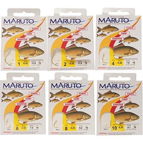 MARUTO Karpfenhaken gebunden goldfarben 70cm, Haken für Karpfen, Angelhaken zum Karpfenangeln, carphooks, Größe/Tragkraft/Durchmesser/Inhalt:Gr.4/7.9kg/0.30mm/8 Haken pro Packung