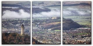 Gracelapin Canvas Wall Art Decor, Wallace Monument, City of Stirling and Castle scotlands and Pictures Printed Oil Painting Home Decoration- 3 Panels