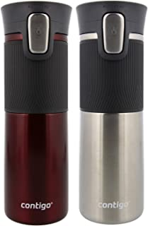 Contigo AUTOSEAL Vacuum Insulated, Stainless Steel Travel Mug, 2 Pack - Keeps Drinks Hot and Cold, Autoseal Button Prevents Spills - No-Slip Comfort Grip - Spiced Wine/ Stainless Steel - 16 Ounces