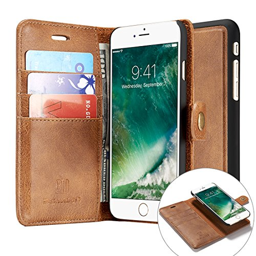 iPhone 7 Plus Case,Magnetic Detachable Wallet Case [Genuine Leather][3 Card Slots][Business Style] Tripky Removable Vintage Wallet Case Cover with Stand, Card Holder for iPhone 7 Plus Brown
