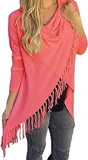 Pink Queen Women's Tassel Hem Open Front Cardigan Pullover Knit Sweater Coat