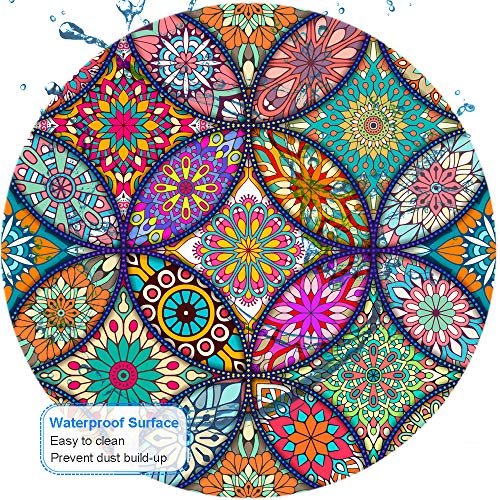 BOSOBO Mouse Pad, Round Mandala Mouse Mat, Cute Mouse Pad with Design, Non-Slip Rubber Base Mousepad with Stitched Edge, Waterproof Women Office Mouse Pads, Small Size 7.9 x 7.9 Inch, Pretty Mandala Photo #6