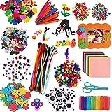 aovowog 1600+ Bricolage Artisanat Jouets éducatifs Kits pour Enfants DIY Loisirs créatifs Pipe Cleaners, Feutre de Couleur, Pompons Scintillant, Plume, Paillettes, Bâtons, Wiggle Googly Yeux