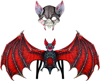 Fascigirl Halloween Wings Bat Costume Cosplay Decor Wings Props with Party Mask
