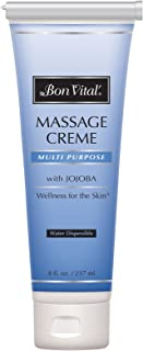 Bon Vital' Multi-Purpose Massage Crème, Professional Massage Cream with Aloe Vera to Relax Sore Muscles, Increase Circulation & Repair Dry Skin, Full Body Massage Moisturizer Cream, 8 Ounce Tube