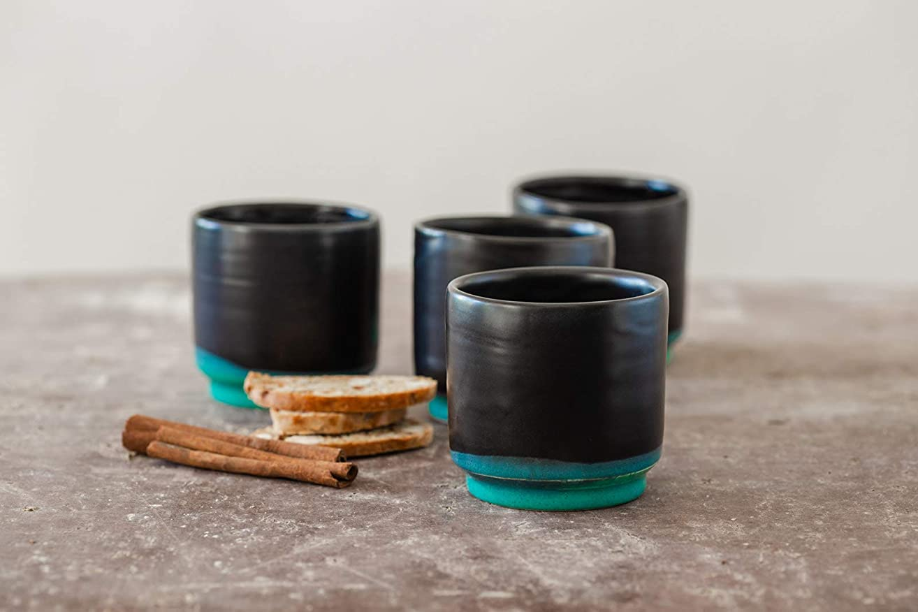 Black and Turquoise Glazed Handmade Natural Clay Ceramic Espresso Cup Set Of 4, Modern Design, Dishwasher Safe, Artisan Pottery Wedding Gift Idea, 6 Oz