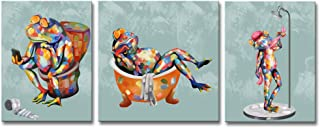 LoveHouse 3 Panel Funny Frog Painting Printed on Canvas Bathroom Decor Abstract Animal Wall Art Contemporary Home Decor Stretched Artwork Ready to Hang H-16 inch W-40 inch (Frog)