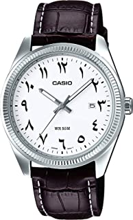 Casio Mens Quartz Watch, Analog Display and Leather Strap
