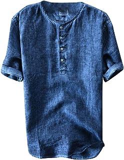 花千束 リネンシャツ メンズ 半袖 tシャツ 丸首 ボタン付き シンプル 快適 カジュアルシャツ 無地 トップス 夏最適 インナーシャツ 大きいサイズ カットソー