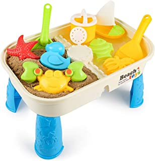 COOLOOK 10 Pieces Beach Sand Toys Set with Activity Table with Storage Room and Cover & Sandbox Toys & Beach Pail Set with Molds for Girls and Boys Kids Outdoor