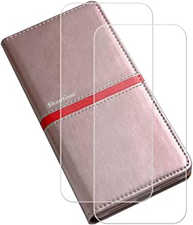 YZKJ Skydd för AGM X2 (5,5 tum) fodral [2 delar] pansarglas skyddande film flip PU läderfodral mobiltelefonfodral plånbok ...