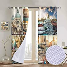 Jinguizi Darkening Window Curtain 2 Panel Travel,Collage of Various Views of Venice City with Canal Cathedral Palace Travel Theme,Multicolor Window Treatments Draperies for Bedroom 108 x L96 Inch