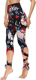 JORYEE Women's High Waist Bandage Tie Cut Out Print Workout Yoga Capri Leggings Tight