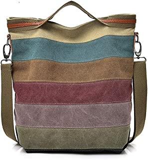 Womens Shoulder Bags Canvas Hobo Handbags Multi-Color Casual Messenger Bag Top Handle Tote Crossbody Bags, Stripe, One Size