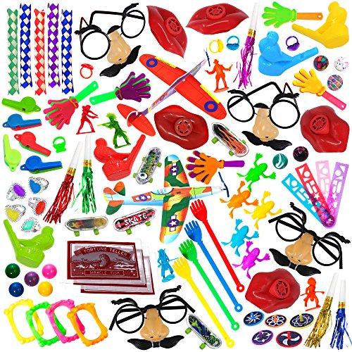 Juguete surtido para fiesta paquete de 100 piezas, incluye una amplia gama de tamaños, juguetes medianos y pequeños, premios pequeños, bolsas de fiesta, para salones y carnavales, (exclusivamente vendido por: Smart Novelty)