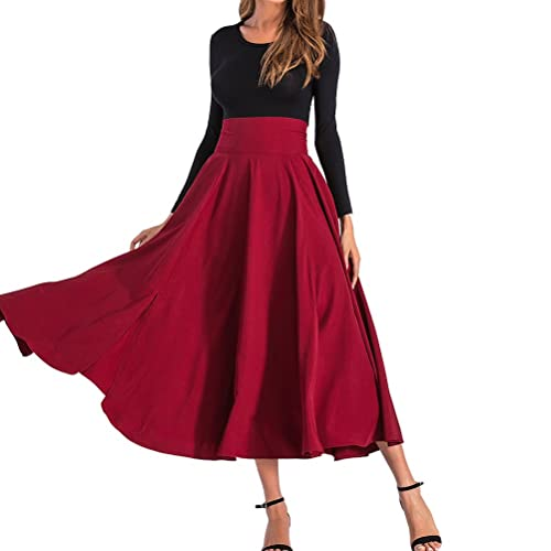 b3e2ed579a BFUSTYLE Women's All Seasons High Waist Swing Pleated Full Length Long  Front A-line Slit